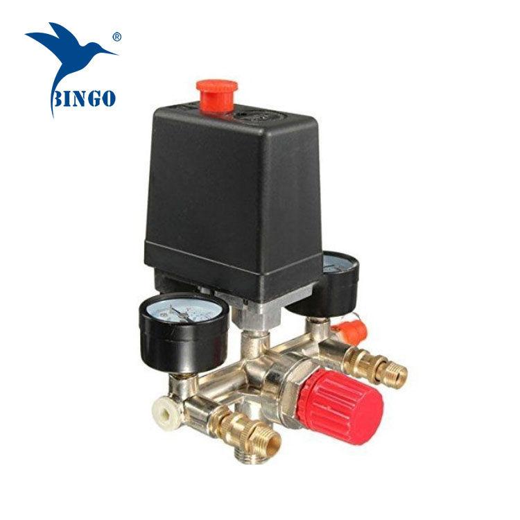 مفتاح الضغط 125psi 1 منفذ الهواء ضاغط مع منظم مقاييس