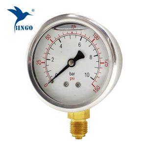 60mm حالة الفولاذ المقاوم للصدأ النحاس اتصال نوع القاع قياس الضغط 150psi النفط شغل مقياس الضغط
